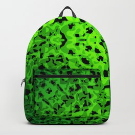 Royal ornament of green spots and velvet blots on black. Backpack