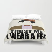 fez Duvet Covers featuring Trust Me I Wear a Fez by 2hootsdesign