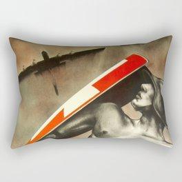 1935 Vintage Swiss Civil Defense Anti-Aircraft Exhibition Advertisement Poster by Otto Baumberger Rectangular Pillow