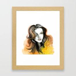 Yellow and Orange Flame Hair Framed Art Print