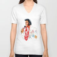 elvis presley V-neck T-shirts featuring Elvis presley by calibos