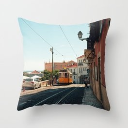 Lisbon yellow tram, Portugal Analog 6x6 Kodal Ektar 100 (RR 167) Throw Pillow