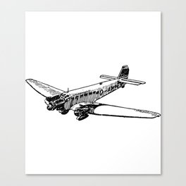 Old Airplane Detailed Illustration Canvas Print