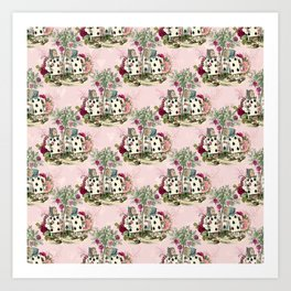 Antique Alice - Playing Cards, Blush Pink, Mint Green, Burgundy Art Print