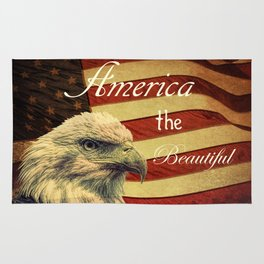America the Beautiful Rustic Flag A109 Rug