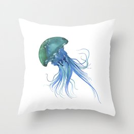 Blue & Teal Abstract Watercolor Jellyfish Minimalist Coastal Art - Coast - Sea - Beach - Shore Throw Pillow