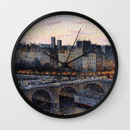 Paris City Lights & Twilight Skyline along the River Seine landscape painting by Maximilien Luce Wall Clock