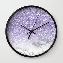 Unicorn Purple Glitter Marble Wall Clock