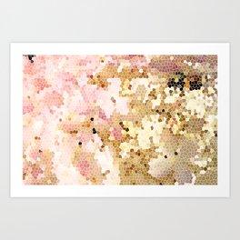 Flower Mosaic Millennial Pink and Golden Yellow Abstract Art   Honey Comb   Geometric Art Print