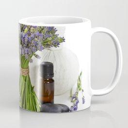 lavender spa (fresh lavender flowers, towel, essential oil, pebbles, Herbal massage balls) over whit Coffee Mug