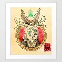 jackalope Art Prints featuring Jackalope by Tristan Lloyd Lewellyn
