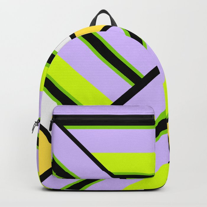 Striped , multi-colored , asymmetric combination pattern . Patchwork . Backpack