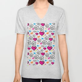 Hearts and Flowers Unisex V-Neck