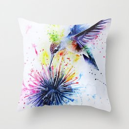 Hummingbird and Dandelion Throw Pillow