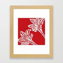 Retro Red Chic Polynesian Tribal Geometric Graphic Floral Tattoo Framed Art Print