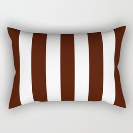 Black bean brown - solid color - white vertical lines pattern Rectangular Pillow
