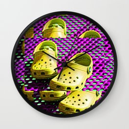 Pop Art Crocs By Sharon Cummings Wall Clock