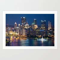 pittsburgh Art Prints featuring Pittsburgh by Cody Rayn