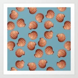 Light blue Big Clam pattern Illustration design Art Print
