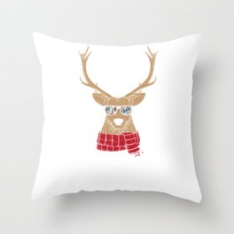 Christmas Reindeer With Cool Glasses Throw Pillow