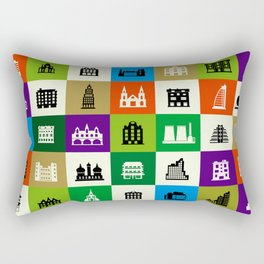 Silhouettes of city buildings Rectangular Pillow