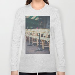tables & chairs outside of a Paris cafe Long Sleeve T-shirt