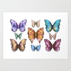 Butterfly Taxidermy 9 // Beautiful Mandala Detailed Wings Design // Orange Green Brown Art Print