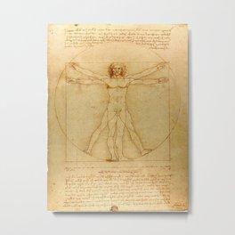 Vitruvian Man, Da Vinci Metal Print