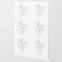 Floral one line drawing - Hibiscus Wallpaper