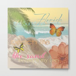 Florida Beach Water The Sunshine State Collage Metal Print