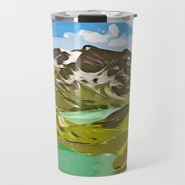 alpine mountain view vector art Travel Mug