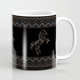 Ethnic pattern with a horse and american indian traditional ornament in brown and blue colors. Coffee Mug
