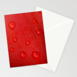 Deep Red Lily Petal and Raindrops Stationery Cards