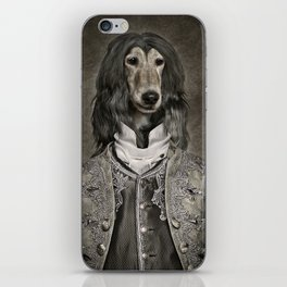 Afghan hound wearing a Louis XIV suit iPhone Skin