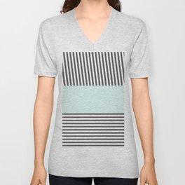 Modern teal black white chic stripes pattern Unisex V-Neck