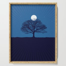 Moonrise of a winter tree Serving Tray