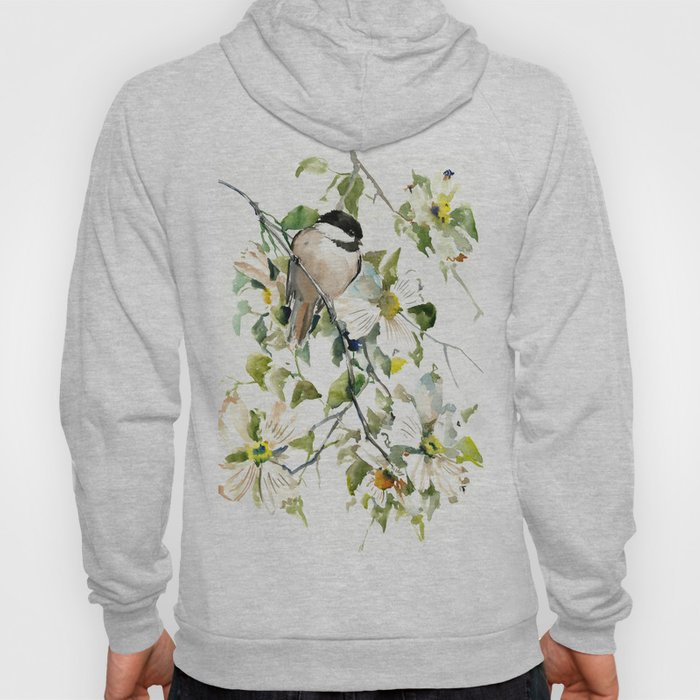 chickadee and dogwood, chickadee art design floral Hoody
