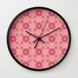 Boho Pink Pattern Wall Clock