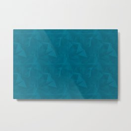 Abstract Polygon Pantone Barrier Reef 17-4530 Geometrical Low Poly Triangle Pattern 1 Metal Print