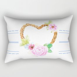 flower heart pink rose and daisy watercolor Rectangular Pillow