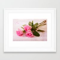 roses Framed Art Prints featuring Roses by Fine Art by Rina