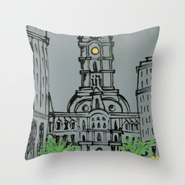 Little City Hall Sketch Throw Pillow