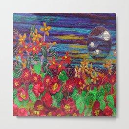Scarlet Begonias. Textile art Metal Print