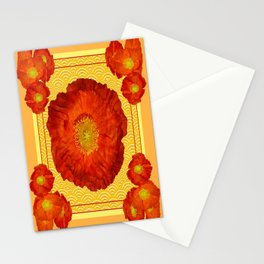 Orangy-Red Oriental Poppy Yellow-Red Pattern Art Stationery Cards