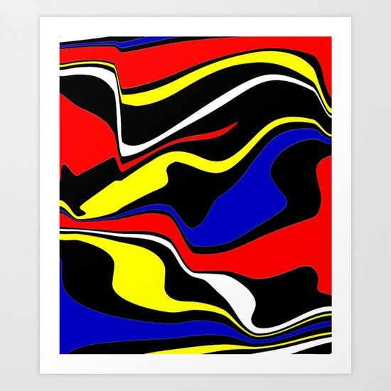 Retro Colour Waves Art Print