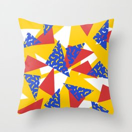 90's Triangles and Squiggles Throw Pillow