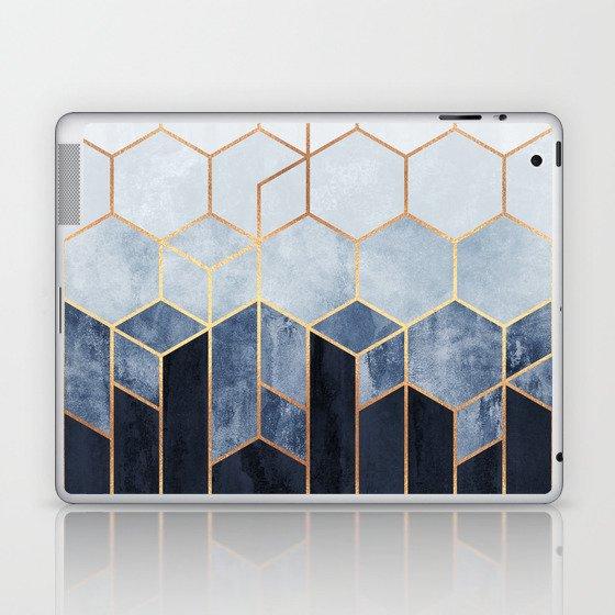 Soft Blue Hexagons Laptop & iPad Skin