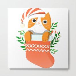 Cat In Christmas Sock Metal Print