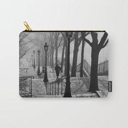 Sacre Coeur, Montmartre, Paris, France Stairs black and white photograph / black and white photography Carry-All Pouch