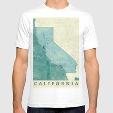 California State Map Blue Vintage White X-LARGE Mens Fitted Tee